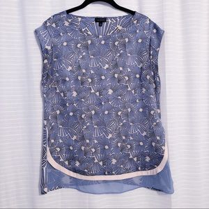 THE LIMITED Short Sleeved Patterned Blouse Blue